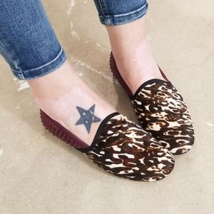Kenneth Cole Gentle Souls Leather Leopard Flats